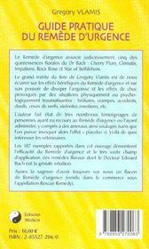 Guide pratique du remede d'urgence - 4ème de couverture - Format classique