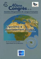 Ergonomie et developpement durable - Couverture - Format classique