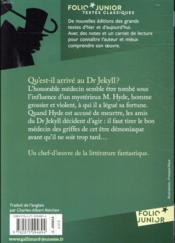 L'étrange cas du Dr Jekyll et de M. Hyde - 4ème de couverture - Format classique