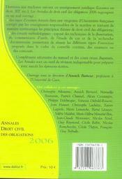 Annales droit civil des obligations 2006. methodologie & sujets corriges (édition 2006) - 4ème de couverture - Format classique
