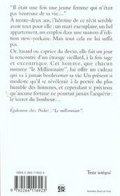 Le Cadeau Du Millionnaire - 4ème de couverture - Format classique