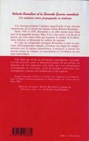 Roberto Rossellini Et La Seconde Guerre Mondiale ; Un Cineaste Entre Propagande Et Realisme - 4ème de couverture - Format classique