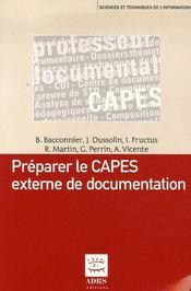Préparer le CAPES externe de documentation - Couverture - Format classique