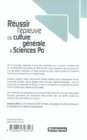 Réussir l'épreuve de culture générale à Sciences Po - 4ème de couverture - Format classique