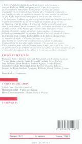 Revue Europe ; Franz Kafka - 4ème de couverture - Format classique