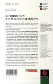 Introduction à la psychologie positive - 4ème de couverture - Format classique