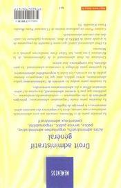 Droit Administratif ; Actes Organisation Contentieux Police - 4ème de couverture - Format classique