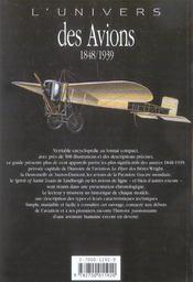 L'univers des avions 1848-1939 - 4ème de couverture - Format classique