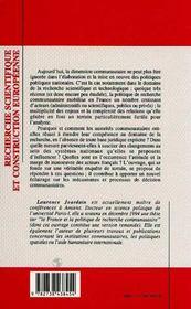 Recherche Scientifique Et Construction Europeenne ; Enjeux Et Usages Nationaux D'Une Politique Communautaire - 4ème de couverture - Format classique
