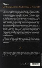 Les enseignements du maître de la pyramide - 4ème de couverture - Format classique
