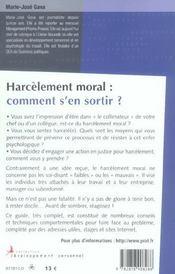 Harcelement Moral Comment S En Sortir 2005 - 4ème de couverture - Format classique