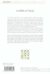 La bible et l'autre - 4ème de couverture - Format classique