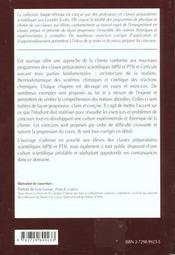 Chimie 1re Annee Mpsi-Ptsi Cours Et Exercices Corriges - 4ème de couverture - Format classique