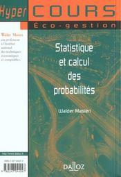 Statistique et calcul des probabilites - 1ere ed. - 4ème de couverture - Format classique