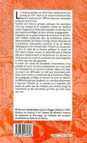 La chanson anarchiste en france des origines a 1914 - 4ème de couverture - Format classique