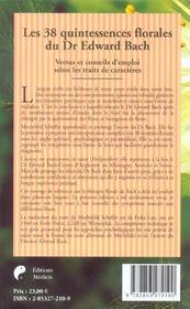 Les 38 Quintessences Florales Du Dr Edward Bach - 4ème de couverture - Format classique