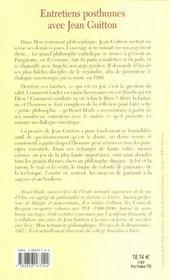 Entretiens posthumes avec jean guitton - 4ème de couverture - Format classique