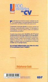 100 modeles de cv - 4ème de couverture - Format classique