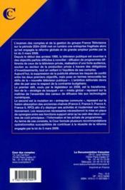 France télévisions et la nouvelle télévision publique ; rapport public thématique - 4ème de couverture - Format classique