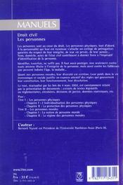 Droit civil ; les personnes ; 7e edition - 4ème de couverture - Format classique