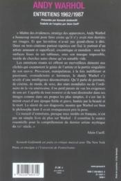 Andy Warhol, Entretiens - Couverture - Format classique