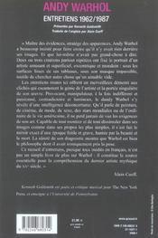 Andy Warhol, Entretiens - 4ème de couverture - Format classique