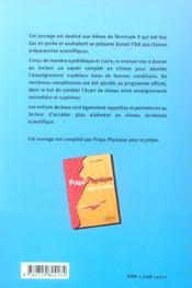 Prepa Chimie Pour La Prepa Du Lycee Vers Le Superieur - 4ème de couverture - Format classique