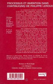Processus et invention dans Continuo(ns) de Philippe Leroux - 4ème de couverture - Format classique