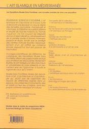 L'art islamique en mediterranee ; pelerinage sciences et soufisme ; l'art islamique en cisjordanie et a gaza - 4ème de couverture - Format classique