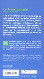 La francophonie - 4ème de couverture - Format classique
