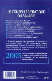 Le conseiller pratique du salarie ; vos droits et obligations - 4ème de couverture - Format classique