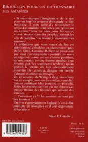 Brouillon pour un dictionnaire des amantes - 4ème de couverture - Format classique