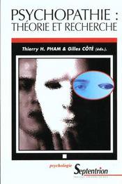 Psychopathie : Theorie Et Recherche - Intérieur - Format classique
