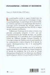 Psychopathie : Theorie Et Recherche - 4ème de couverture - Format classique