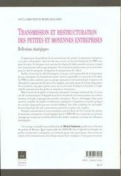Transmission et restructuration - 4ème de couverture - Format classique