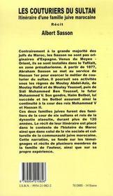 Les couturiers du sultan ; itinéraire d'une famille juive marocaine - 4ème de couverture - Format classique