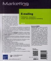 E-mailing ; fidélisation, acquisition : réussir ses campagnes marketing - 4ème de couverture - Format classique