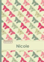 Carnet Nicole Lignes,96p,A5 Papillonsvintage - Couverture - Format classique