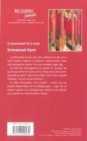 Le Gouvernement De La Raison ; Emmanuel Kant - 4ème de couverture - Format classique