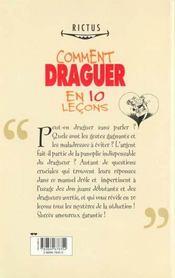 Comment Draguer En Dix Leçons - 4ème de couverture - Format classique
