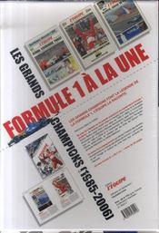Formule 1 A La Une ; Les Grands Champions, 1985-2006 ; Coffret 20 Unes Historiques - 4ème de couverture - Format classique