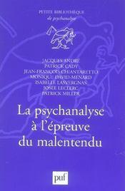 La psychanalyse à l'épreuve du malentendu - Intérieur - Format classique