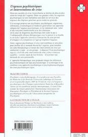 Urgences psychiatriques et interventions de crise - 4ème de couverture - Format classique