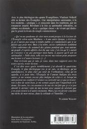 Lecture De L'Evangile Selon St-Jean - 4ème de couverture - Format classique