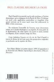 Paul Claudel Regarde La Croix - 4ème de couverture - Format classique