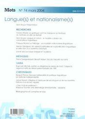 Mots T.74 (édition 2004) - 4ème de couverture - Format classique