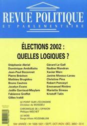 Revue Politique Et Parlementaire N.1020 ; L'Analyse Electorale - Couverture - Format classique