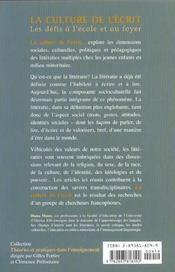 La culture de l'ecrit ; les defis a l'ecole et au foyer - 4ème de couverture - Format classique