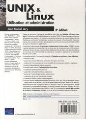 Unix/linux ; utilisation et administrion (2e edition) - 4ème de couverture - Format classique
