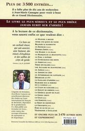 Le grand dictionnaire de l'argot militaire ; terre-air-mer, gendarmerie - 4ème de couverture - Format classique